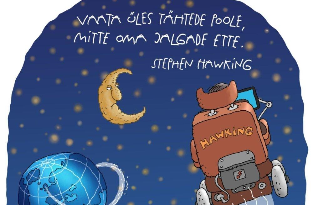 KARIKATUUR | Stephen Hawking lendab tähtede poole