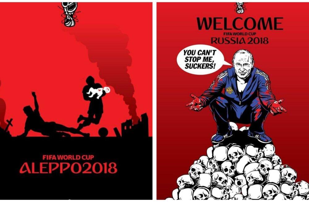 FOTOD | Ukrainlase tehtud karmid pilapildid kutsuvad üles jalgpalli MM-i boikoteerima