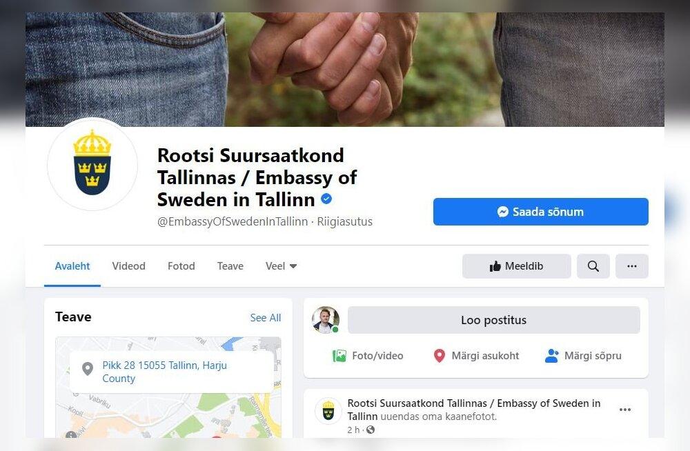 KUVATÕMMIS | Rootsi suursaatkond Tallinnas tegi keset geivaenu-skandaali tähendusliku postituse