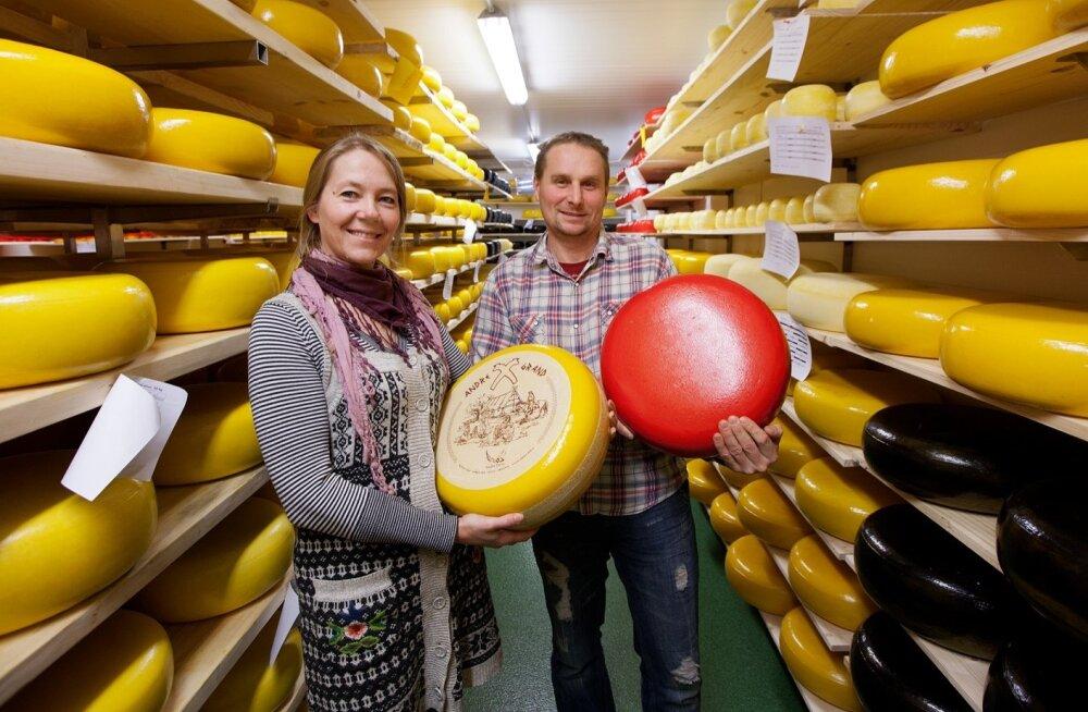 """""""Andre Farmi kaubamärgi all laagerdub Gouda tüüpi juust, mida  valmistame kahe retsepti järgi, nii et maitselt on juustud mõneti erinevad,"""" selgitavad Erika Pääbus ja Aivar Alviste oma juustukojas."""