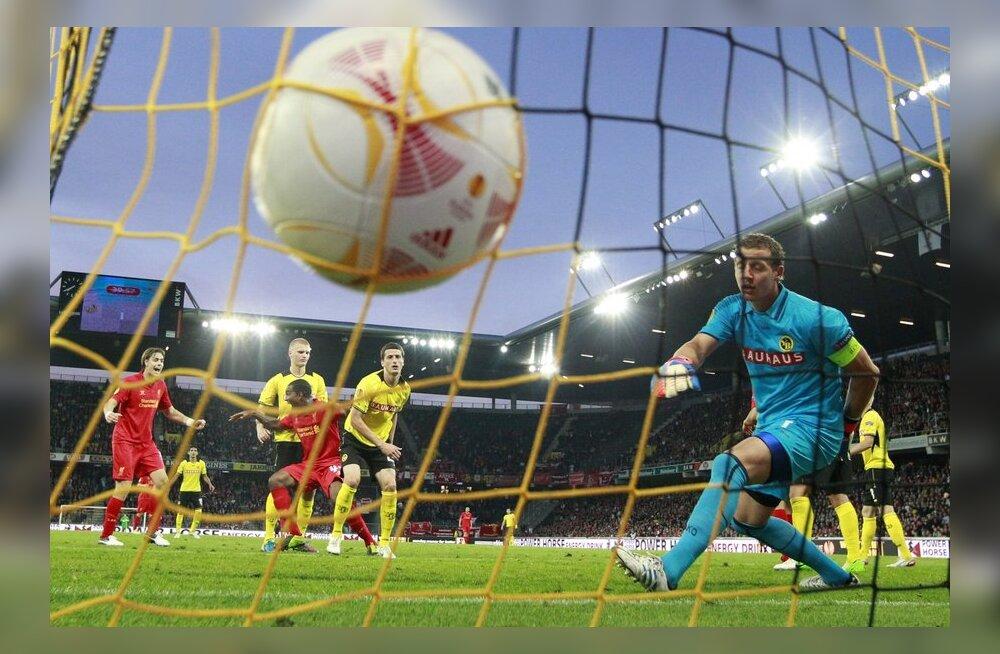 Liverpooli mängijad lõi Euroopa liiga avakohtumises viis väravat, jalgpall