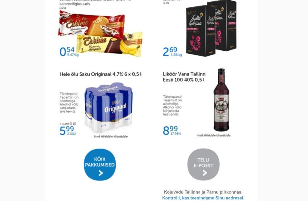 Õlle hind meilile tulnud infokirjas. Kas keelatud alkoholi reklaam või kaval võte?