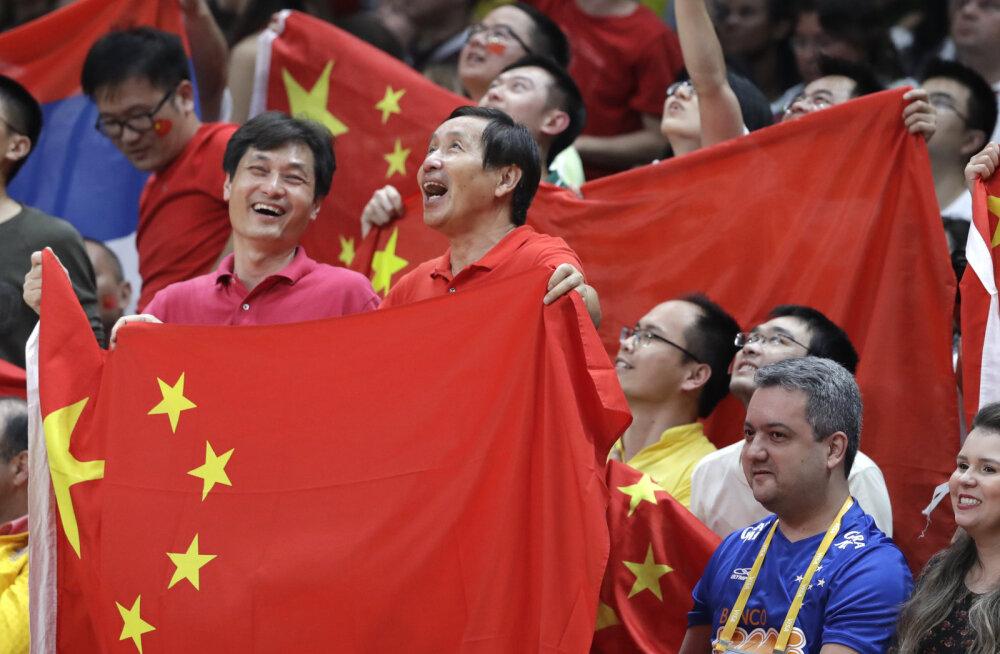 Hiina koondise poolehoidjad tribüünidel
