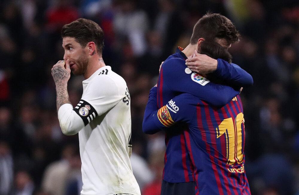 Löödud Sergio Ramos ja juubeldavad Barcelona mängijad