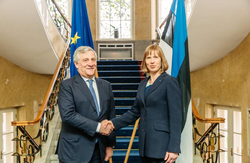 FOTO JA VIDEO: Euroopa Parlamendi president Antonio Tajani kohtus täna Kersti Kaljulaidiga ja käis külas riigikogus