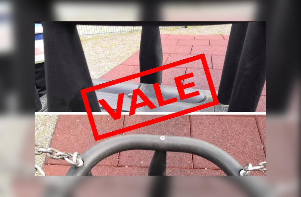 Viraalne postitus hoiatab püstiste naeltega mänguväljakust Tallinnas. Need fotod on valed