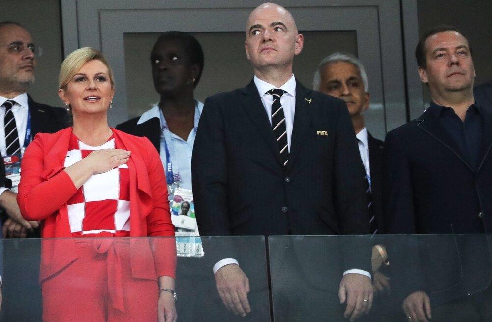 FIFA president Gianni Infantino Horvaatia ja Venemaa mängul.