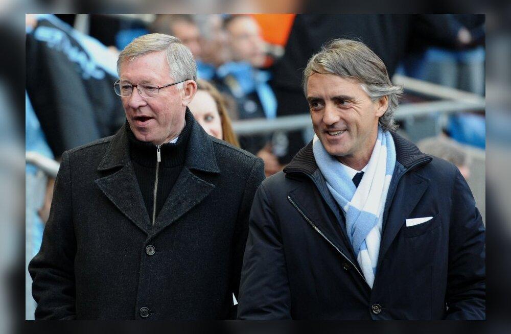 Roberto Mancini ja Sir Alex Ferguson
