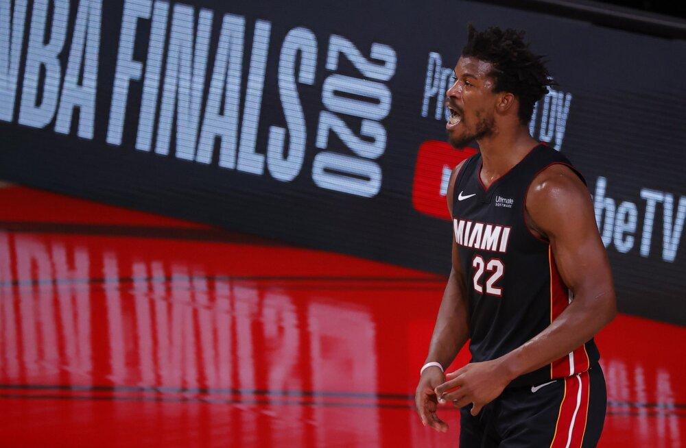 VIDEO | Kahe põhimeheta mänginud Miami Heat teenis Butleri võimsa kolmikduubli toel esimese võidu
