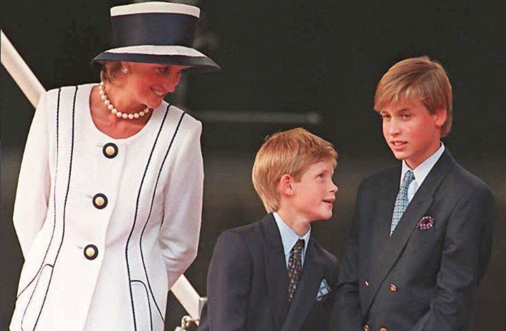 Printsess Diana aastal 1995 poegade Harry ja Williamiga