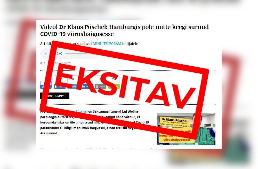 Saksamaa arst pole öelnud, et Hamburgis COVID-19 tõttu hukkunuid ei ole