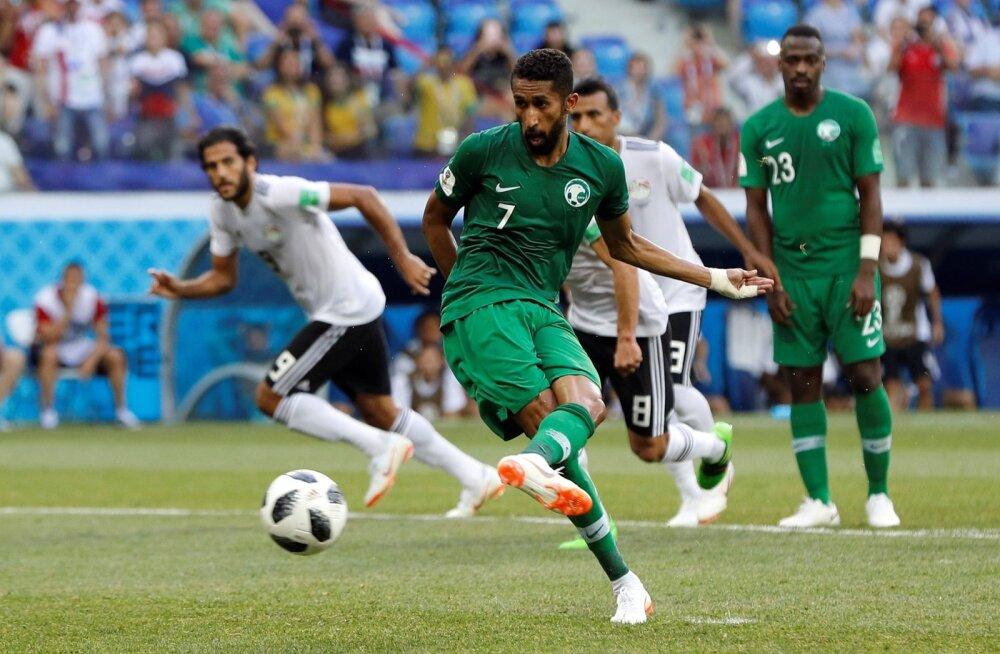 Salman Al Faraj saatis penaltipunktilt palli väravasse.