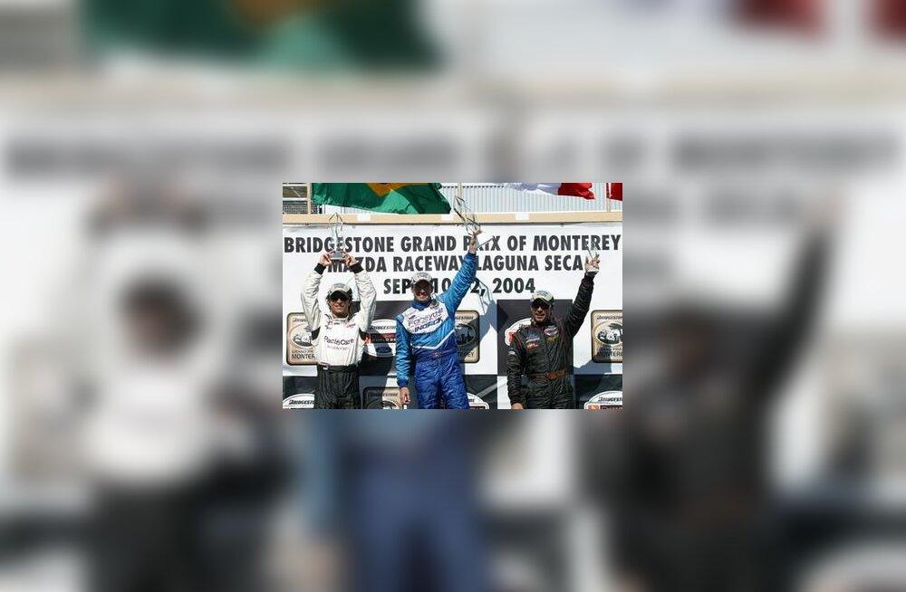 Bruno Junqueira, Patrick Carpentier ja Oriol Servia Laguna Seca poodiumil