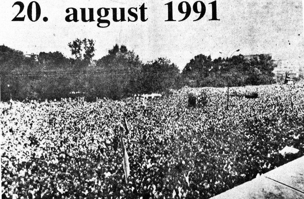 Ajalehe skanneering 21.augusti 1991 Päevalehest.