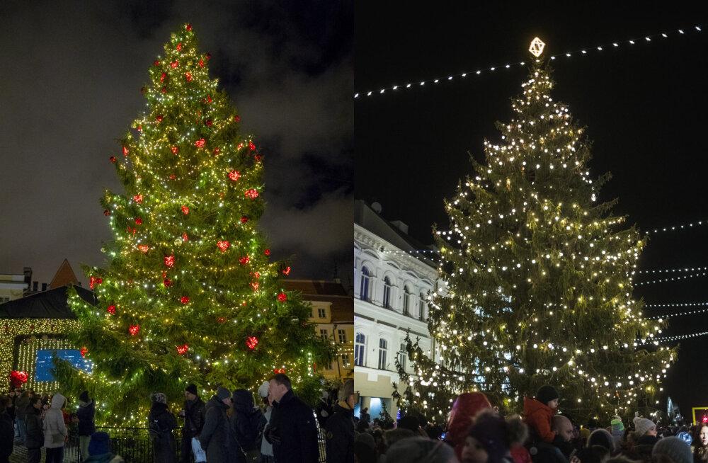 GALERII | Avalda arvamust: kumb jõulukuusk on uhkem — Tallinna või Tartu oma?