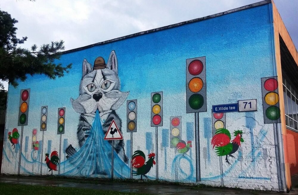 ФОТО читателя Delfi: На стене ресторана Kännu Kukk поселился граффити-кот