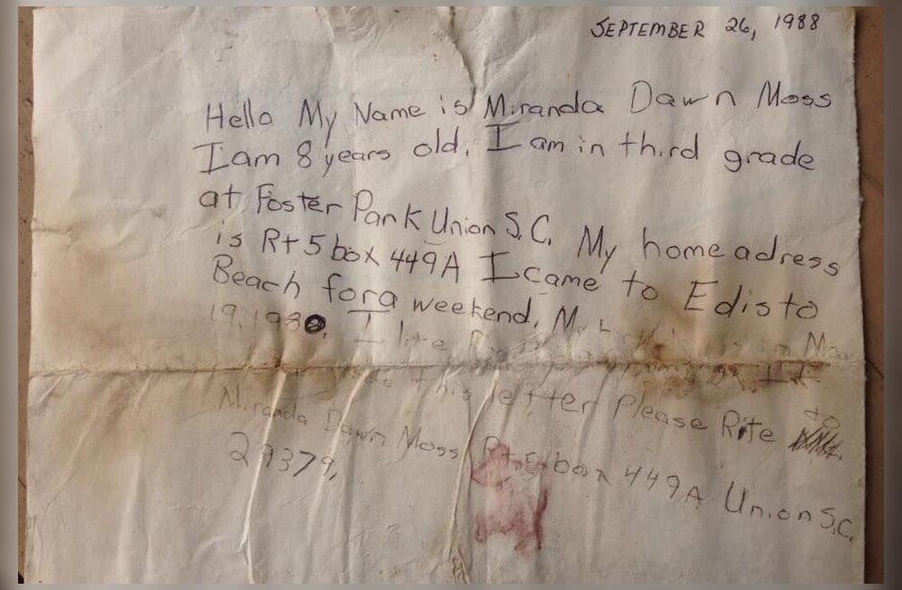 Imeline lugu: 8-aastase tüdruku pudelikiri sai Facebooki abil vastuse 29 aastat hiljem