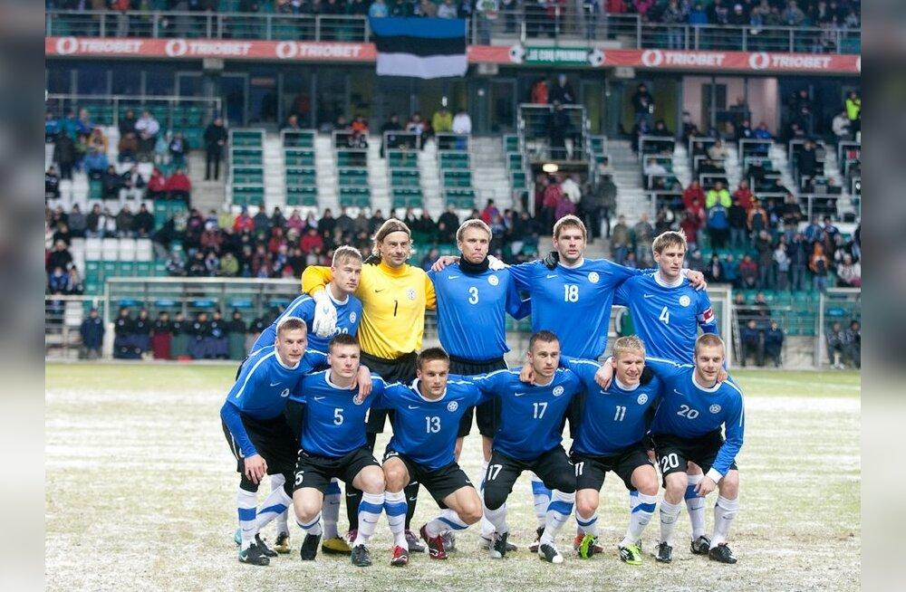 Eesti jalgpallikoondis mängus Uruguayga