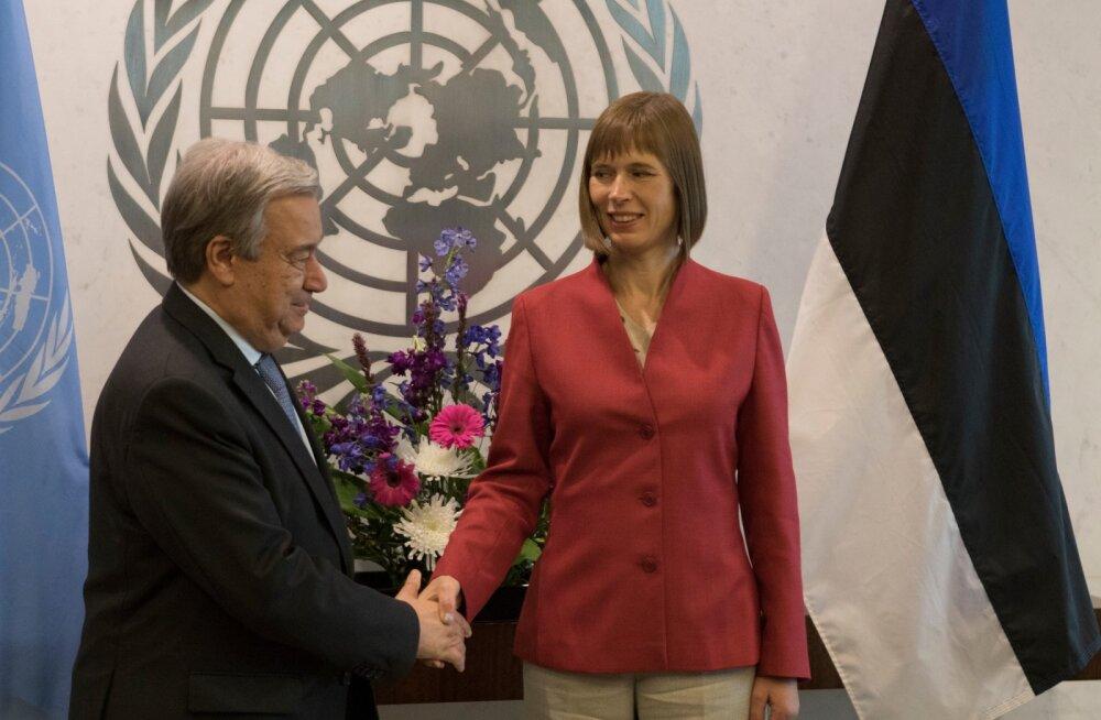 President Kersti Kaljulaid New Yorgis ÜRO peasekretäri Antonio Guterres'iga.