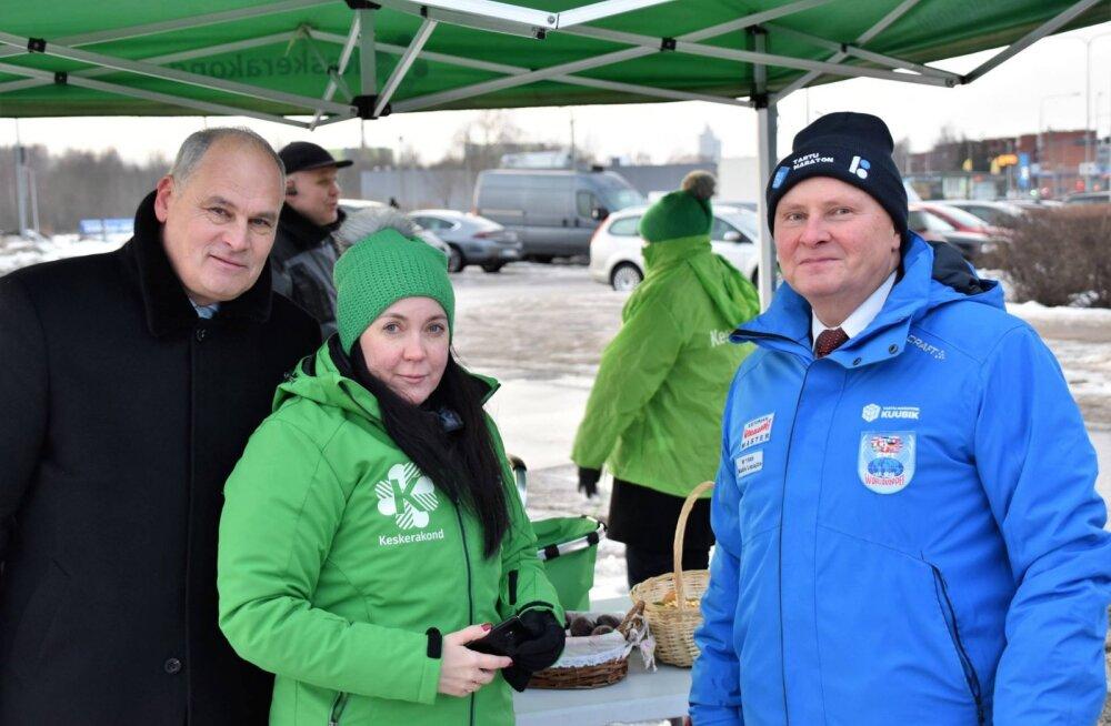 Jaan Toots, Monica Rand ja Madis Lepajõe tänavu veebruaris ühel kampaaniaüritusel. Paistab, et nüüd lähevad nende poliitteed lahku.