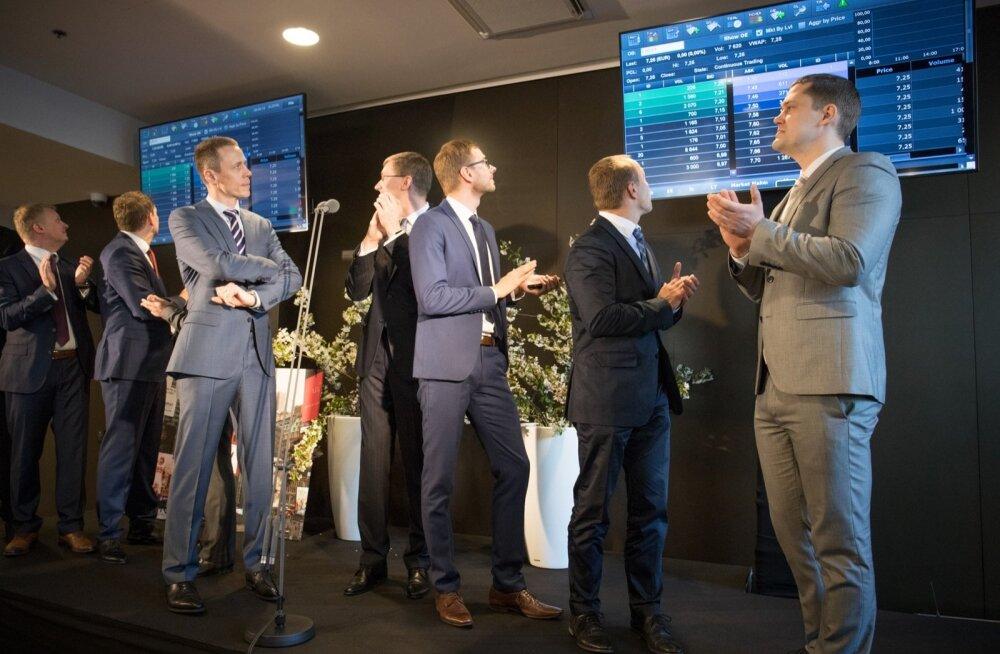 FOTOD: LHV aktsia jaoks algas kauplemine Tallinna börsil tõusuga, kuid avapäev lõppes tugevas miinuses