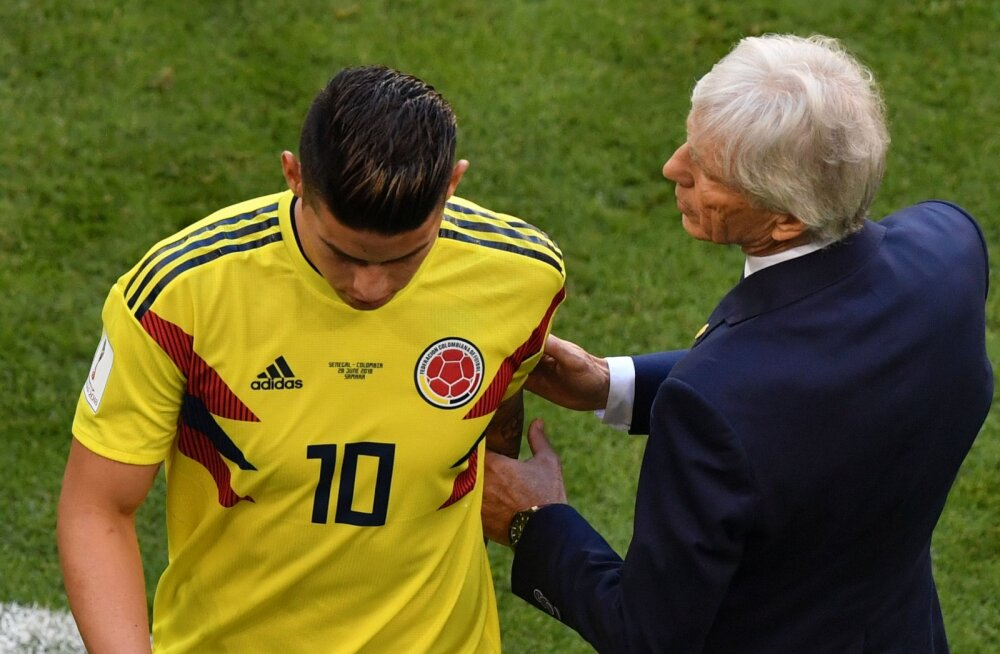 James Rodriguez ja Kolumbia peatreener Jose Pekerman