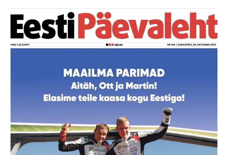 Eesti Päevalehe esikülg 28.10.2019