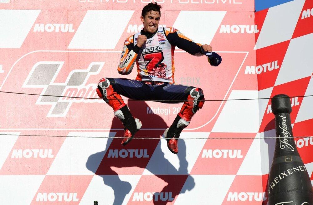 Marc Marquez võitu tähistamas.