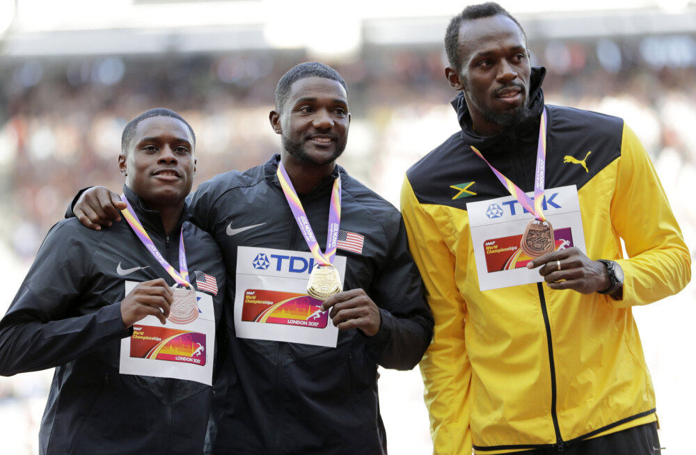 Medalikolmik: Christian Coleman, Justin Gatlin ja Usain Bolt