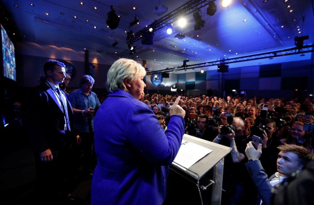 Norra parlamendivalimised võitis napilt senine peaminister Solberg