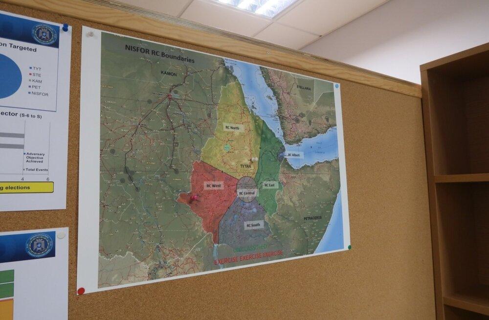 Kaart Aafrikasse paigutatud fiktiivsete riikidega