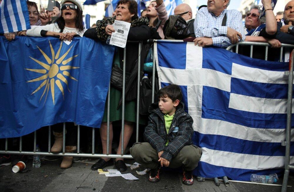 Protestijad üleeile Ateenas Kreeka ja Vana-Makedoonia lippudega