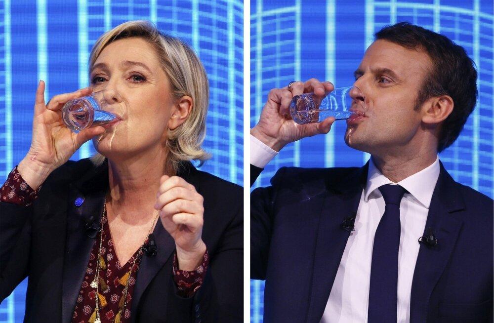 Marine Le Pen (vasakul) jõuab üpris kindlasti presidendivalimiste teise vooru, kuid Emmanuel Macroni võitu peetakse tõenäolisemaks.