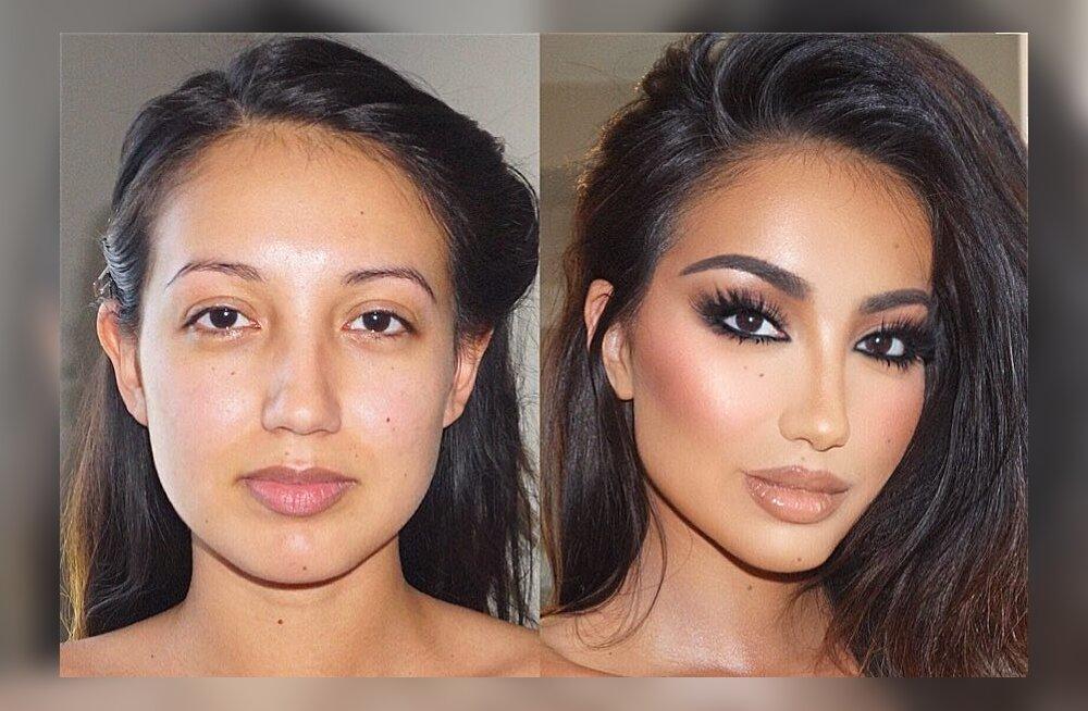 FOTOD | Naised jagavad pilte oma meikimata ja meigitud nägudest ning mõned neist näevad ilma krohvita totaalselt teistsugused välja