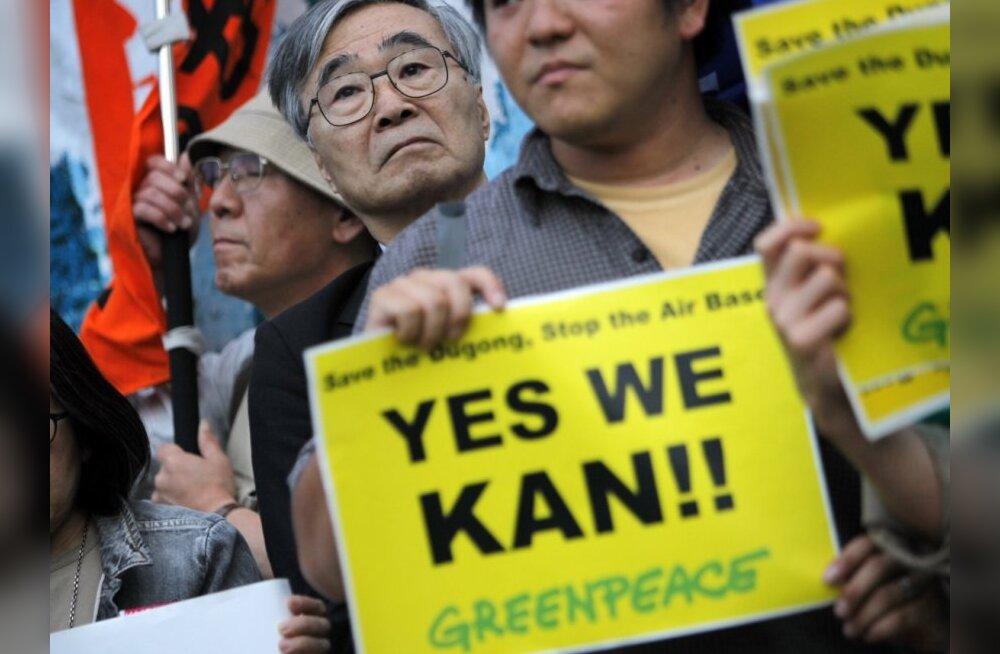 Okinawa rahvas nõuab peaminister Kanil USA baasi sulgemist.