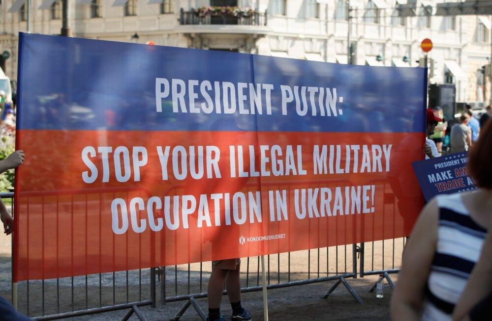 Eesti-Vene suhteid varjuab ka Ukraina-teema. Pildil pakat tippkohtumiselt Helsingis.