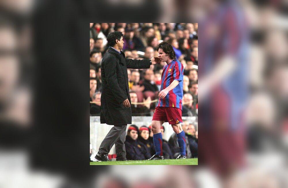Barcelona peatreener Frank Rijkaard ja Lionel Messi