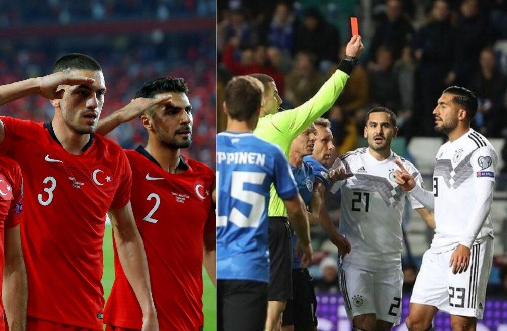 Türgi jalgpallurite sõjaline saluut, Ilkay Gündogan ja Emre Can mängus Eestiga