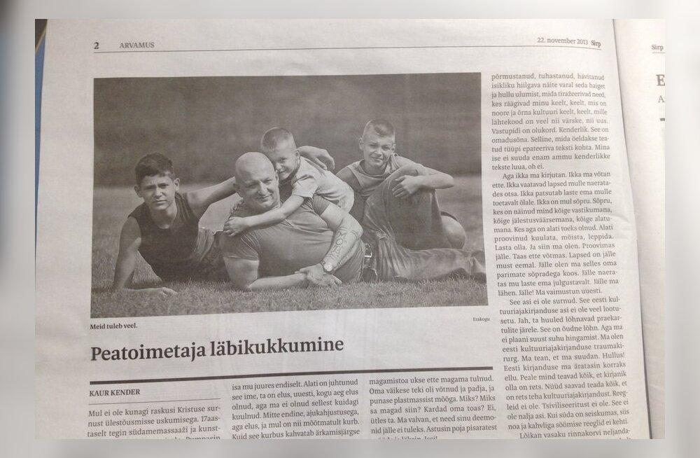 Kaur Kender uue Sirbi juhtkirjas: Ma olen eesti kultuuriajakirjanduse traumakirurg