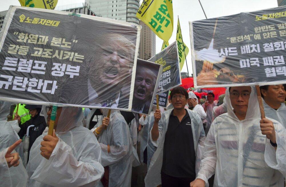 Южная Корея. Один из протестов против заявлений президента США Дональда Трампа.