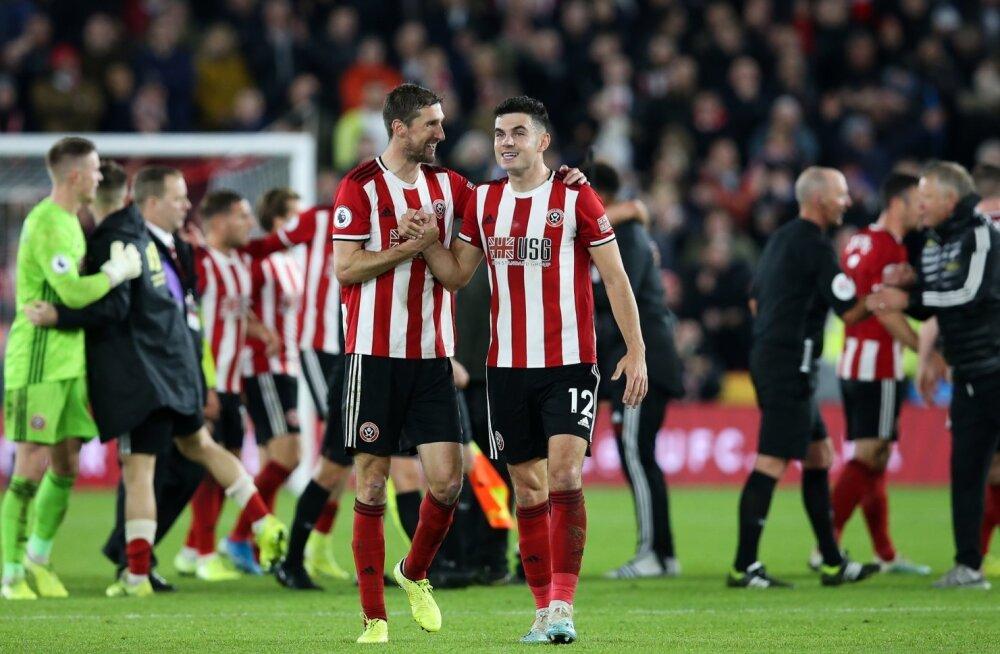 Sheffield Unitedi mängijad rõõmustamas Londoni Arsenali alistamise üle.