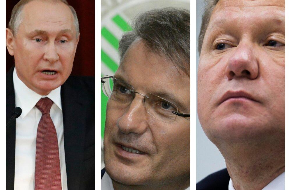 Venemaa kõige mõjukamad: Vladimir Putin, juht German Gref, Aleksei Miller.