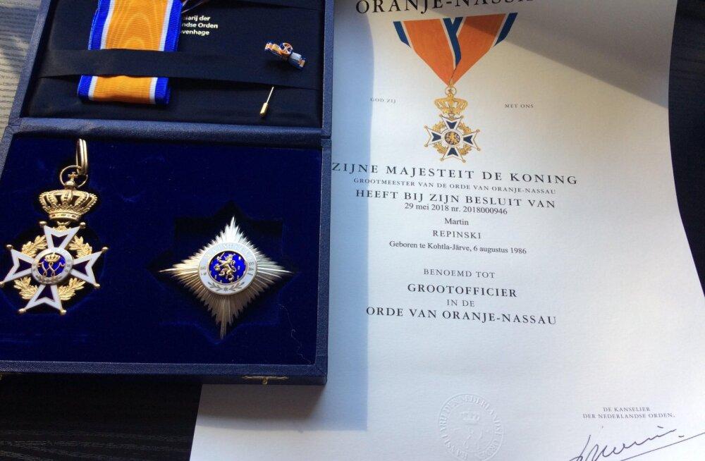 Hollandi kuningalt ordeni saanud Martin Repinski: muidugi olin väga üllatunud