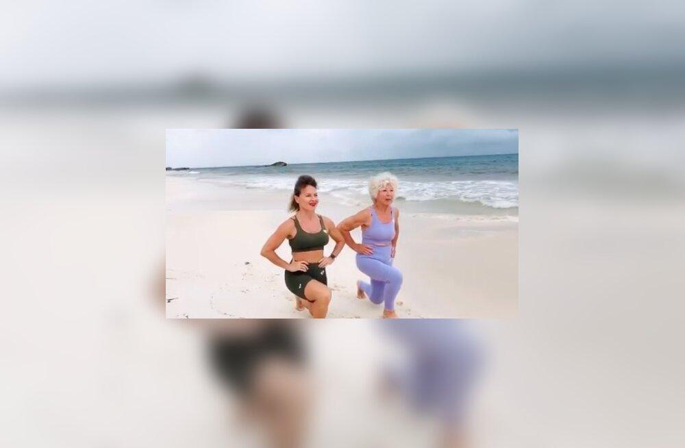 VIDEO | 74aastane vanaproua, kes end elu parimasse vormi treenis, jagab head trenni, mida sõbrannaga koos rannas teha