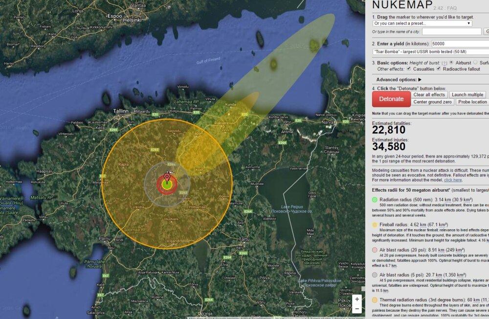 Õudne, aga huvitav simulaator: mis juhtuks, kui su kodukohale heidetaks tuumapomm?