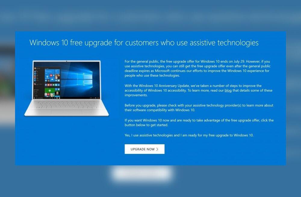 Magasid arvuti tasuta Windows 10-le uuendamise aja maha? Üks võimalus veel on