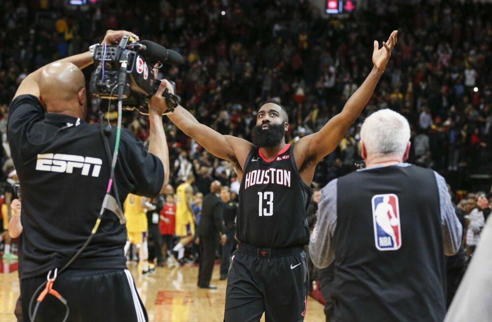 VIDEO | Järjekordse hullumeelse mängu teinud Harden aitas Rocketsi lisaajal võidule Lakersi üle