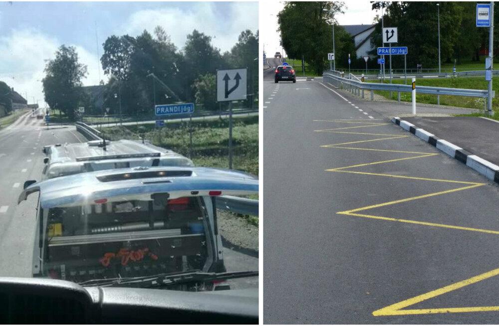 FOTOD: Järvamaal kontrollis politsei palgiveokit bussipeatuses, koolibuss pidi lapsed maha panema maanteele