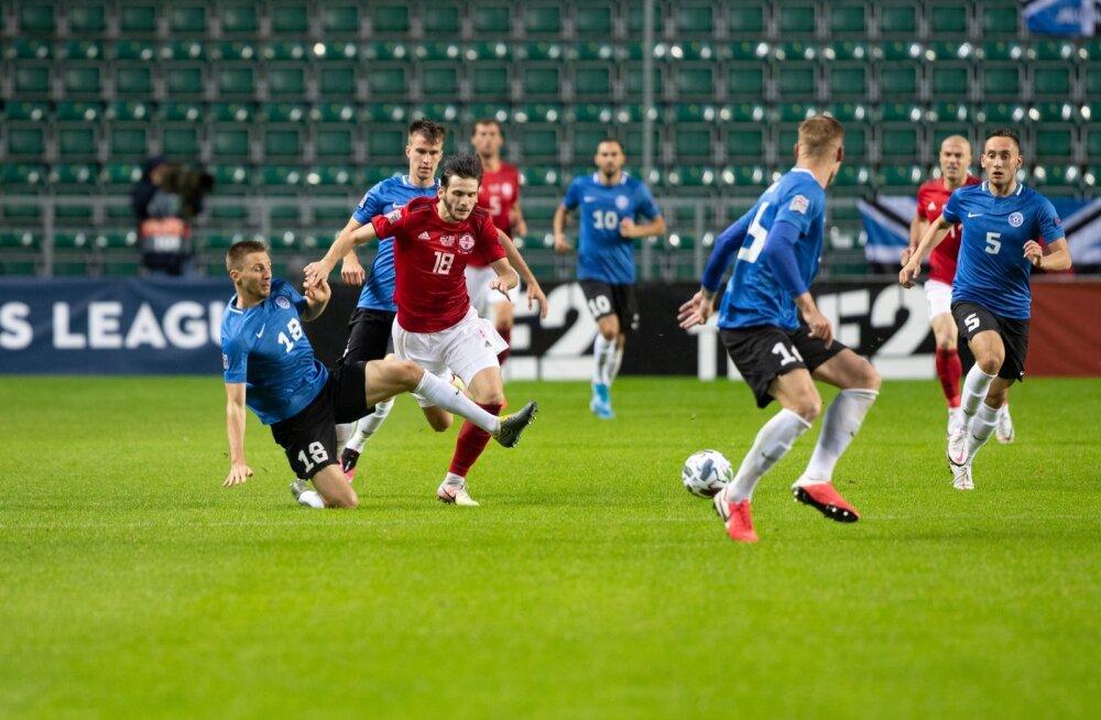 Gruusia (punases) koondis alistas Eesti küll ainult 1 : 0, kuid nende üleolek oli kindel ja eestlased väga ohtlikuks ei saanudki.