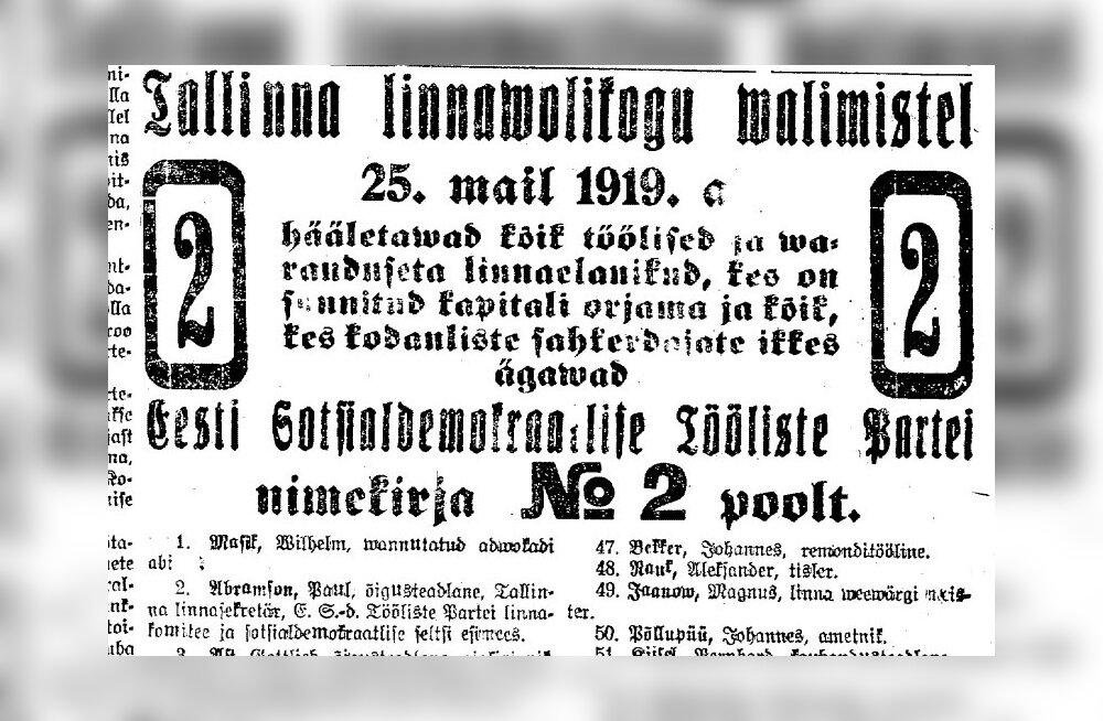 Valimised Tallinnas: 1919. aastal linnapeaks valitud Gottlieb Ast suri aasta lõpus tiisikusse